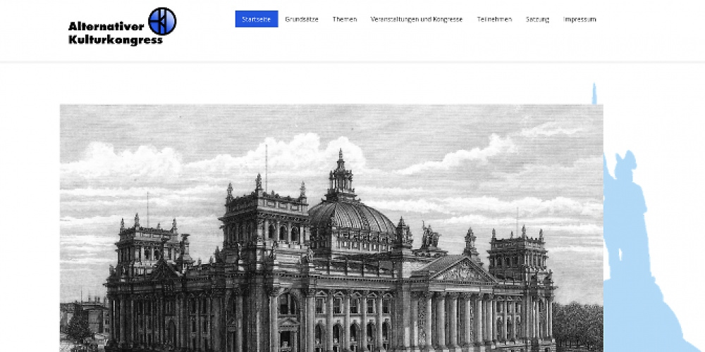 Bundestag und Herrmannsdenkmal - Screenshot der Website